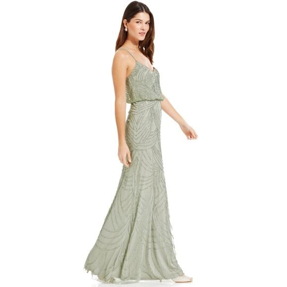 Adrianna Papell Dresses | Sleeveless Beaded Gown Teal Mint | Poshmark